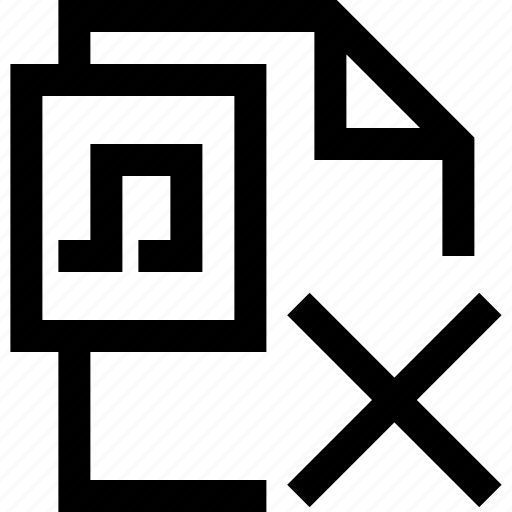cross, decline, document, false, file, music, sound icon