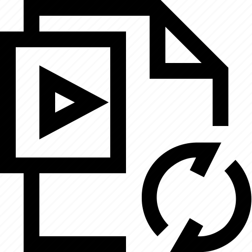 arrow, camra, document, file, movie, refresh, video icon