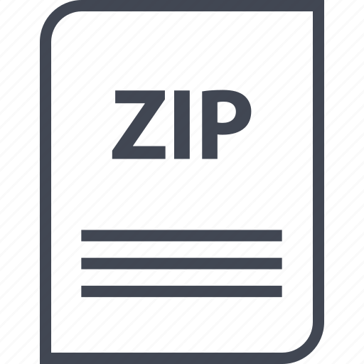 document, extension, file, name, page, zip icon