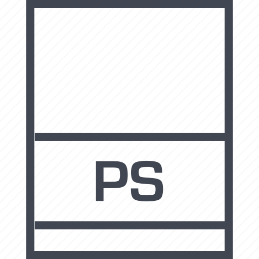 document, extension, file, ps icon