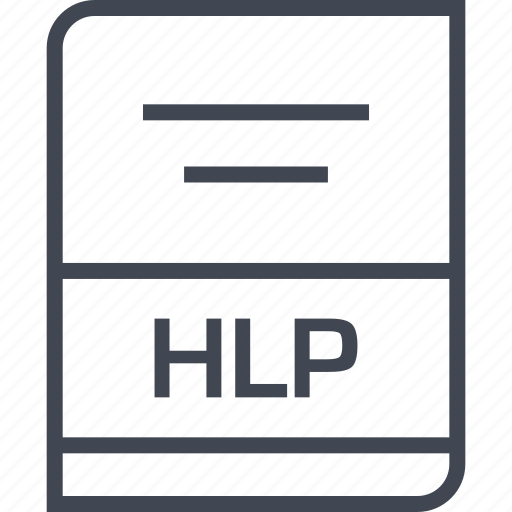 document, file, hlp, name icon