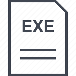document, exe, file, name icon