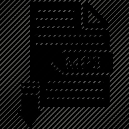 extensio, file, format, mp3, paper icon