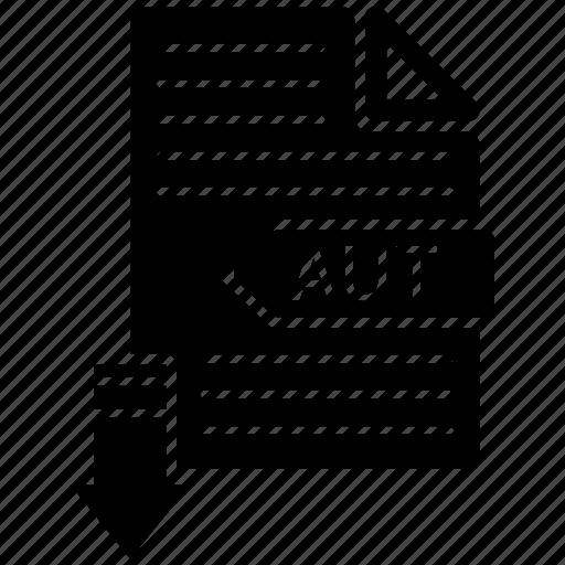 aut, extensio, file, format, paper icon