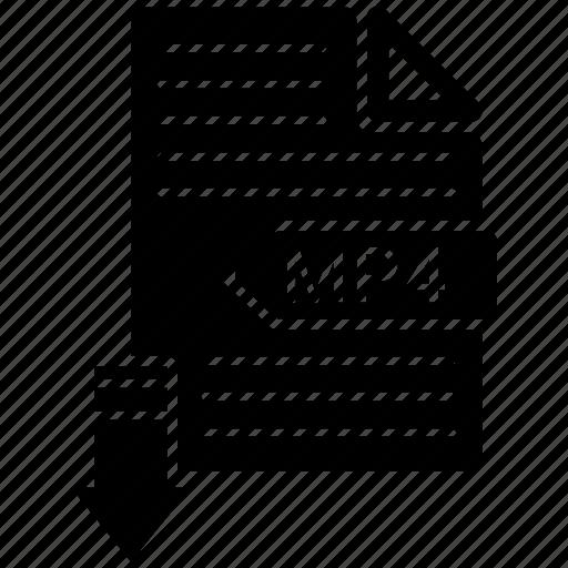 extensio, file, format, mp4, paper icon