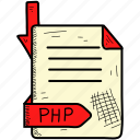 document, file, format, php icon