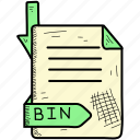 bin, extention, file, format icon