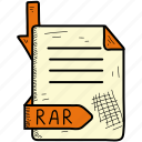 document, file, rar icon