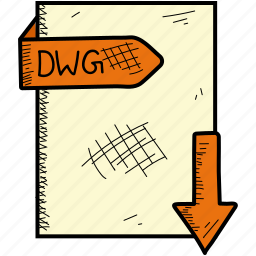 dwg, extention, file, format icon