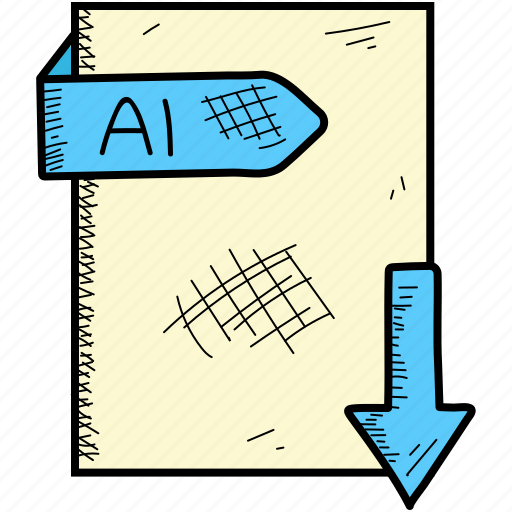 ai, extention, file, format icon