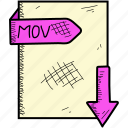document, file, mov icon