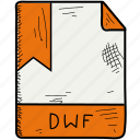 dwf, extention, file, format icon