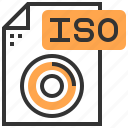 application, data, document, file, iso, label, type icon