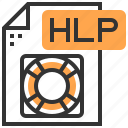application, data, document, file, hlp, label, type icon