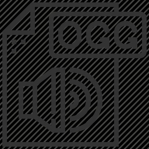 document, file, format, ogg, oggwav, sound, type icon