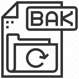 bak, document, extension, file, format, type icon