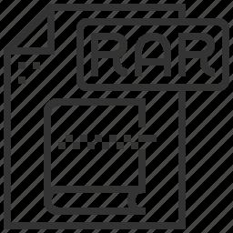 document, extension, file, rar, type icon