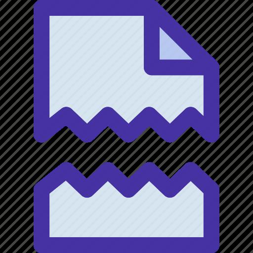 broken, damage, data, document, file, format, paper icon