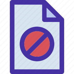 data, document, file, forbbiden, format, paper icon