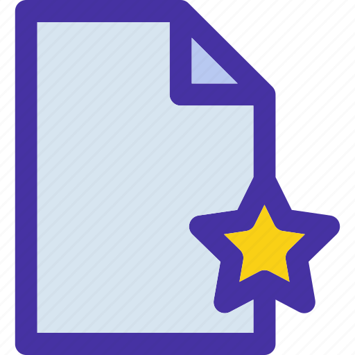 document, file, format, paper, star, starred icon
