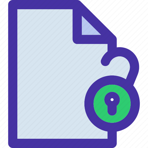 document, file, format, unlock icon