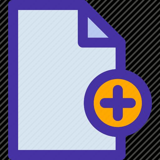 add, data, document, file, format, paper, plus icon