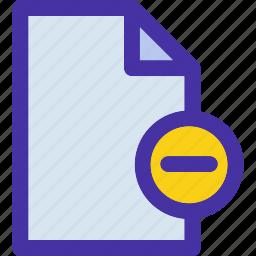 data, delete, document, file, format, minus, remove icon