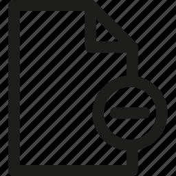 data, document, file, format, paper, remove icon