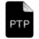 document, file, format, ptp, type icon