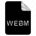 document, file, format, type, webm icon