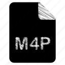 document, file, format, m4p, type icon