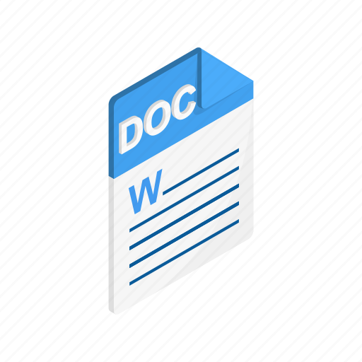doc, document, file, format, isometric, sign, type icon