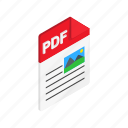 document, download, file, isometric, pdf, sign, web icon