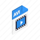 avi, document, file, format, isometric, sign, type icon