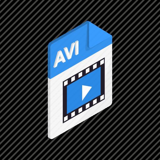 avi, document, file, format, isometric, sign, type icon