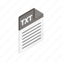 document, file, format, isometric, sign, txt, type icon