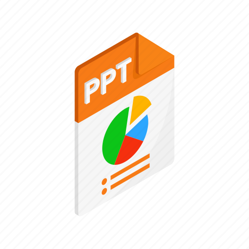 document, file, format, isometric, ppt, sign, type icon