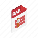 archive, isometric, object, page, rar, sign, web icon