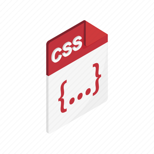 css, document, file, format, isometric, sign, type icon