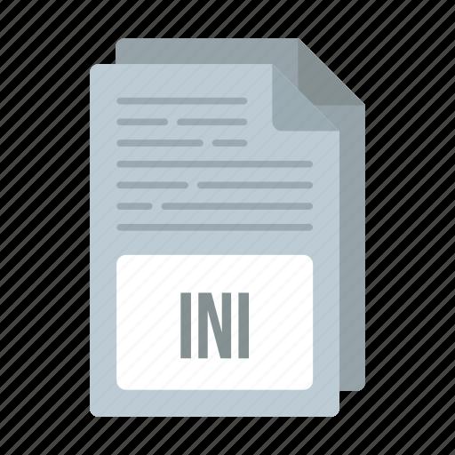 document, extensiom, file, format, ini, ini icon icon