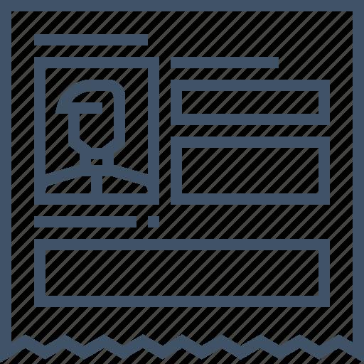 account, document, fill, form, paper, profile, register icon