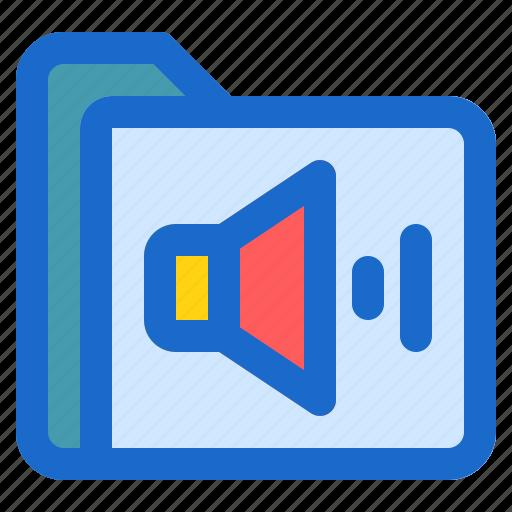 audio, document, file, folder, format icon