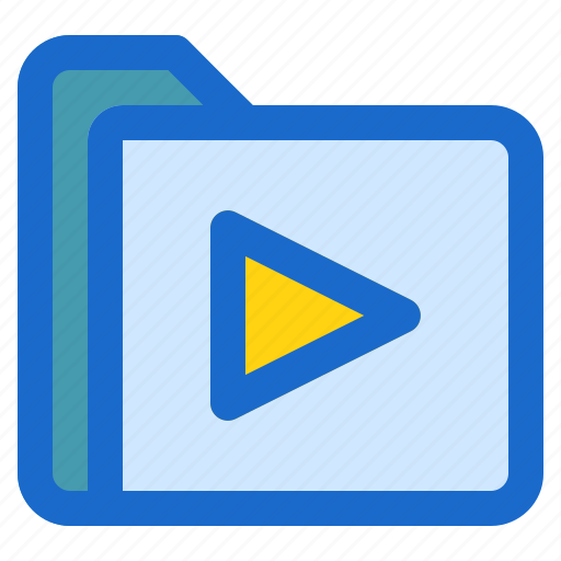 document, file, folder, format, play icon