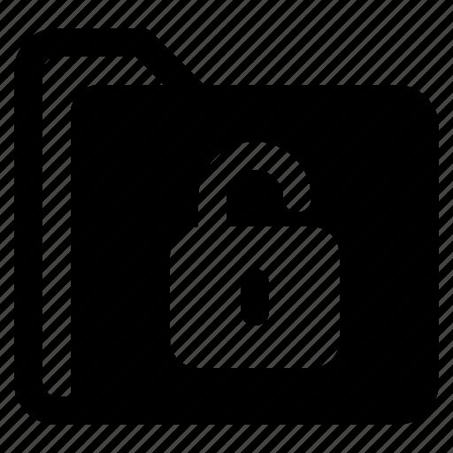 document, file, folder, format, unlock icon