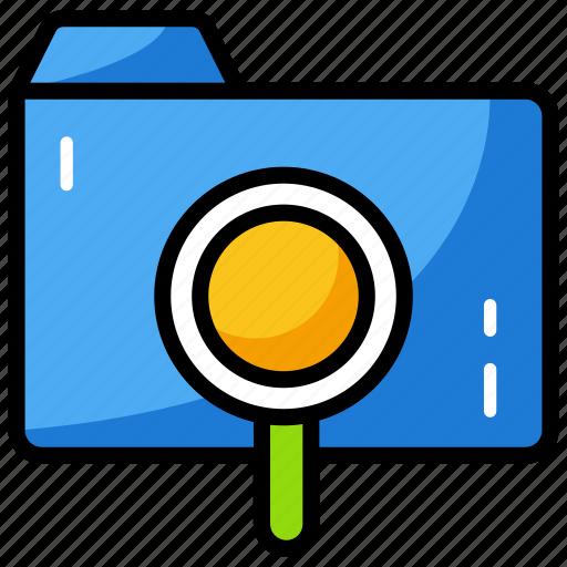 data folder, file, finding folder, folder, folder search icon