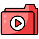 data folder, file, folder, media folder, play folder, video folder icon