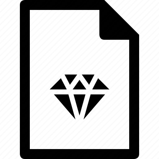 diamond, document, file, sketch icon