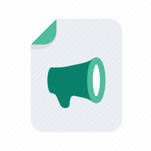 announcement, document, file, files, format, megaphone, newsletter icon