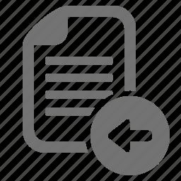 arrow, back, document, file, left, send icon