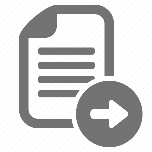arrow, document, file, go, right, send icon